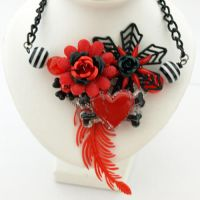 Love to Hate Collaged Necklace by AndyGlamasaurus