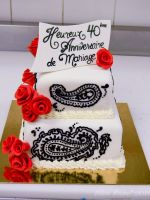 Paisley anniversary cake by buttercreamfantasies