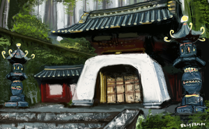 Tiny Temple Speed Painting by foxibiri