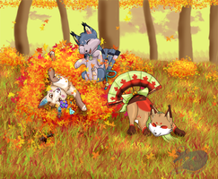 Fall Fun with Foxfans by Sound-of-Heaven