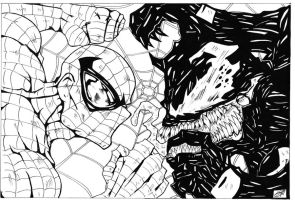 spiderman vs venom original art bw by darkartistdomain