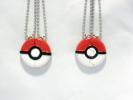 Pokeball Inspired BFF or Couple's Necklace by SaphirazlilJewels