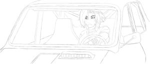Leigh driving sketch by MegaDrawer02