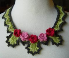 Crochet rose necklace by meekssandygirl