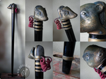 Steampunk Badger Microphone Walking Stick by Nymla