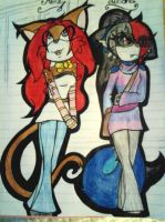 Midnight and Minzy .:Teenage Years:. -Colored- by MidnightDarkFox