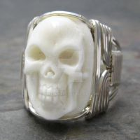 Carved Bone Oval Skull Ring by kimsjewels