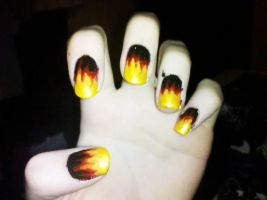 Fire Nail Art by Chelseapoops