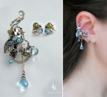Silver ear cuff and studs by JuliaKotreJewelry