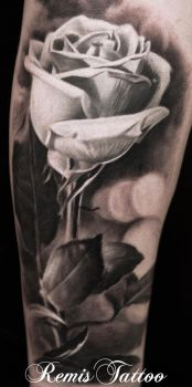 Realistic Black And Grey Rose Tattoo by Remistattoo