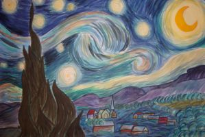 Starry Night - Watercolor by The-Apiphobic-Artist