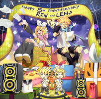 Collab - HAPPY 6TH BIRTHDAY KAGAMINE RIN AND LEN!! by usarei