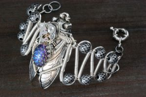 Steampunk cicada bracelet by CatherinetteRings