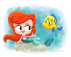 Ariel and Flounder by xanderthurteen
