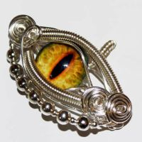 Wire Wrap Yellow Dragon Eye Pendant by Create-A-Pendant