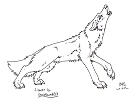 Howling Wolf ::free lineart:: by CrossHound213