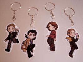 Supernatural keychains! by Quezsam