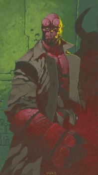 Hellboy painting by ChristopherStevens