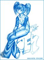 Jem in blue pencil by kina