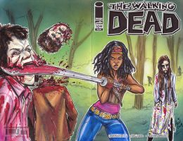 Walking dead Michonne sketch cover. by mainasha