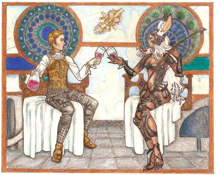 Mucha-style Balthier and Fran by Joellehart