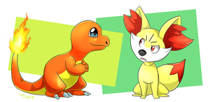Charmander and Fennekin by Natsuakai