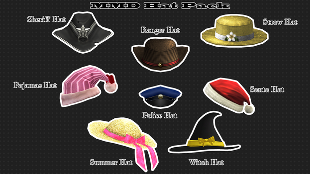 MMD Hat Pack by XxXSickHeartKunXxX