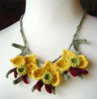 crochet yellow orchid necklace by meekssandygirl