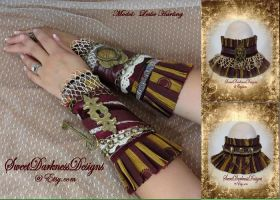 Steampunk Choker and Wristlet Collection by SweetDarknessDesigns
