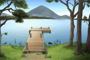 Background Commission Series - Lake's Shore by Shinobi-201