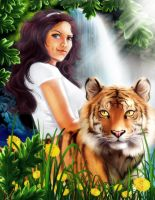 The Girl and Her Tiger by Paranoid-Duckkie