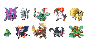 First 10 pokemon sprites by Araless