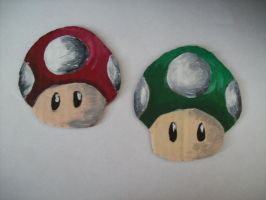 Mario Mushrooms Book Marks by McMuffinNinjaFluffer