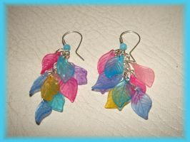 Colorfull leaf earring by jasmin7