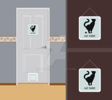 Cat wc pictogram by bocurd
