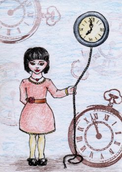 Amy and the Time -- ATC #88 by Maienstern