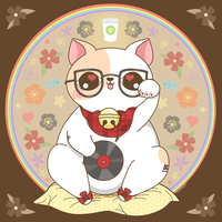 Hipster Maneki Neko by pronouncedyou