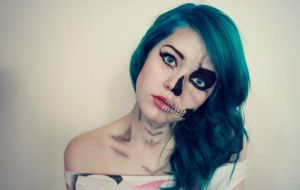 Skull Girl With Blue Hair by marta111121