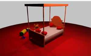 MMD Cute red bedroom by amiamy111