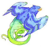 Lizard Gryphon by MaiaCarlson CoLoReD by GammaLykos