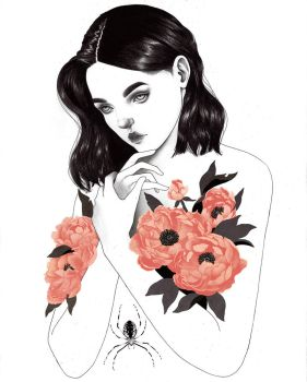Peonies and a Spider by Atia-ink