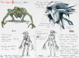 Mass Effect 3 Concept Art: Husk - asari by Kasimova