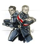 Shepard and Kaidan by AdamWithers