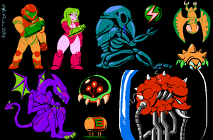 all da metroid mans by SSO-Robo