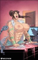 Muscular Mad Scientist by female-muscle-comics