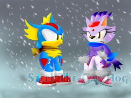 Blaze And Blizz-Field Of Snow by Steel-The-Cat-Hog
