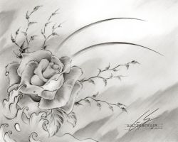 Rose Drawing by Sultzaberger
