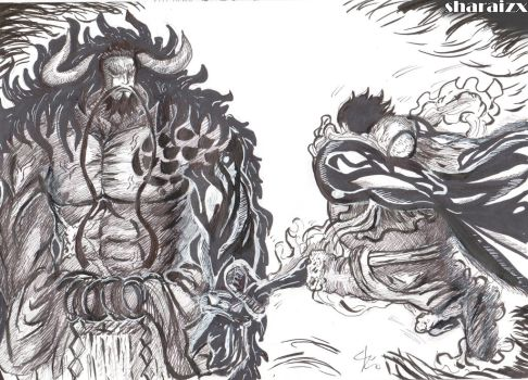 Luffy vs Kaido by sharaizx