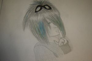Dahvie black and white with a splash of bluegreen by XionLovesRam