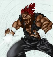Sagatt art Coloured: Akuma WIP by mad-fever
